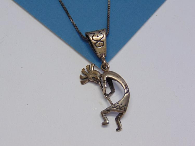 Sterling Silver Kokopelli Pendant and Necklace 8.6g