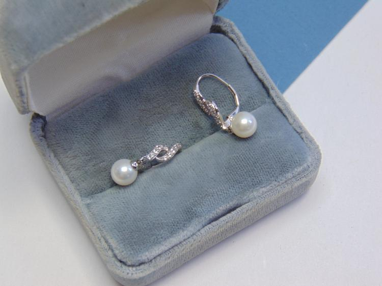 14kt White Gold and Diamond w Pearl Clip On Earrings