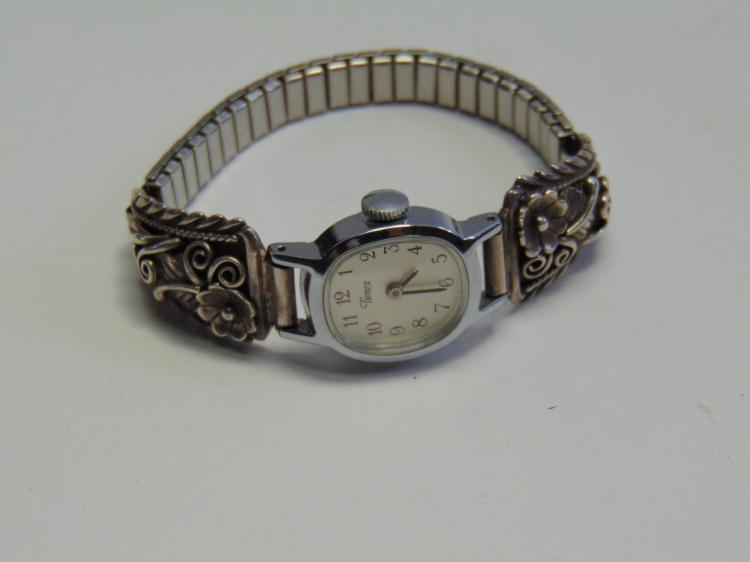 Vintage Timex Watch w Sterling Silver Watch Tips Signed BJ