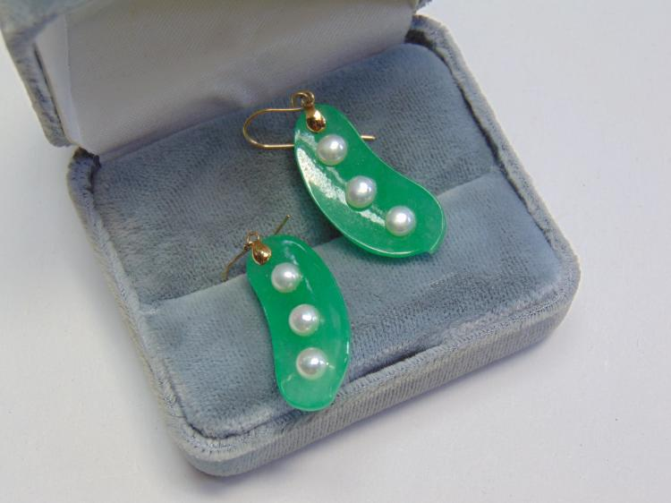 14kt Gold Jade and Akoya Pearls Peapod Earrings