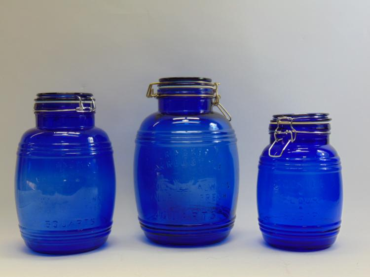 Set of 3 Cobalt Blue Glass Cookies Flour Sugar Barrel Containers