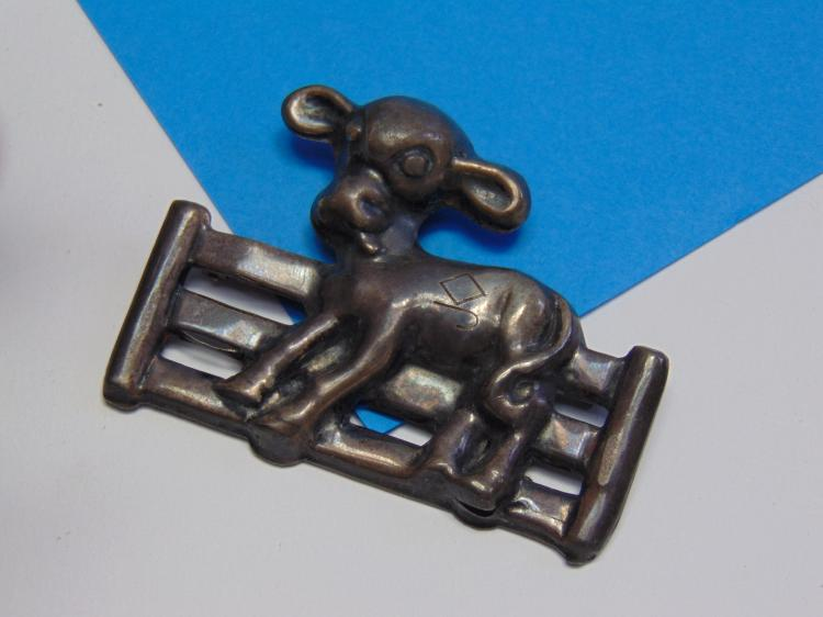 Vintage 1930s Sterling Silver Farm Calf Pin or Brooch