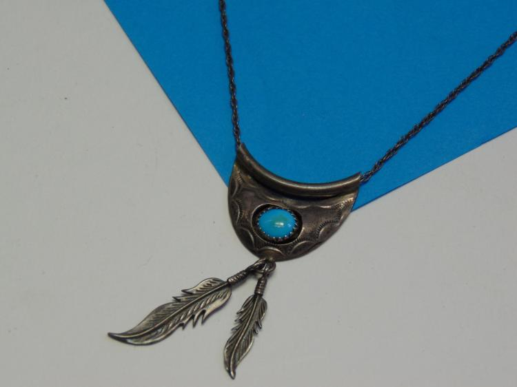 Vintage Navajo Sterling Silver & Turquoise Pendant and Necklace