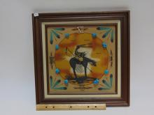 Lot 4: End Of Trail Sand Painting Clock With Turquoise Nuggets
