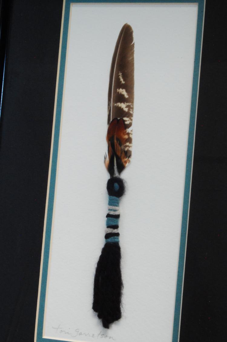 Lot 1: Original Tori Garretson Framed Feather & Wool Art