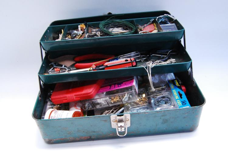 Lot 2: Vintage Union, Utility Chest tool Box With Tools