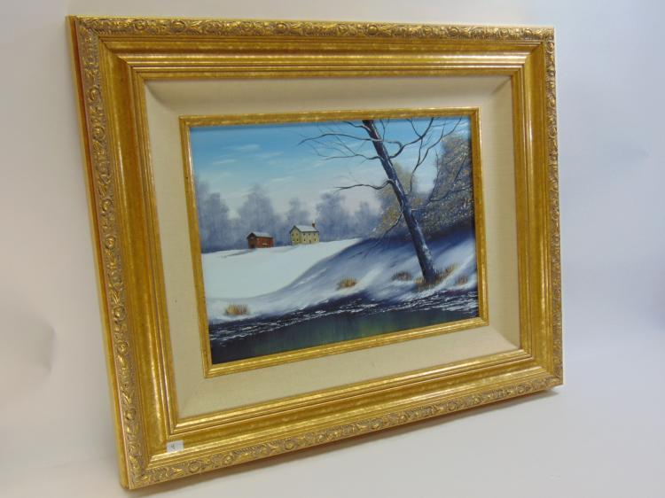 M James Original Framed Winter Landscape Painting