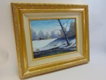 Lot 4: M James Original Framed Winter Landscape Painting