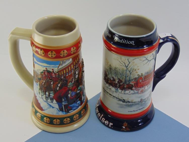 Ceramarte Budweiser Christmas Beer Stein Lot Of 2