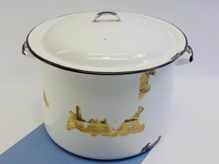 Vintage White Enamelware 8 Quart Cooking Pot