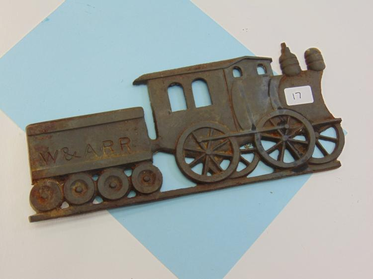 Vintage Cast Iron W&ARR Locomotive Decoration