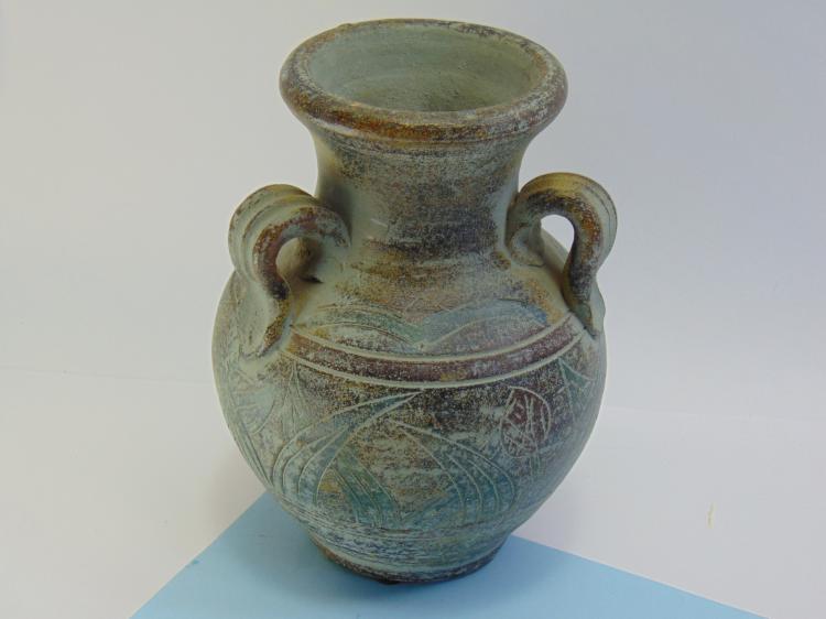 Lot 19: Vintage Etched Clay Decorative 3 Handled Pot