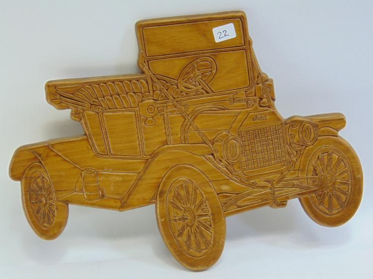 Lot 22: Pressed Wood Ford Model T Wall Hanging