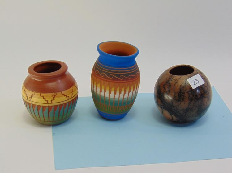 Lot 23: NM Navajo Etched & Horsehair Signed Miniature Clay Pot Lot of 3