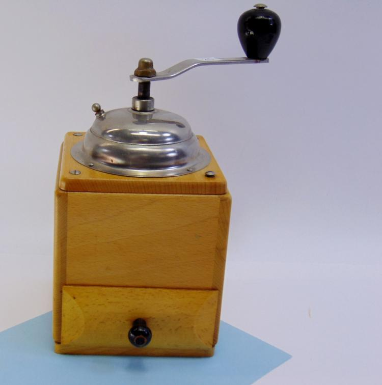 Vintage Kitchen Hand Crank Wood Box Coffee Grinder