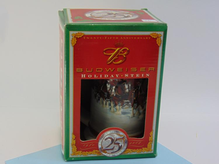 25th Anniversary Budweiser Holiday Ceramic Stein