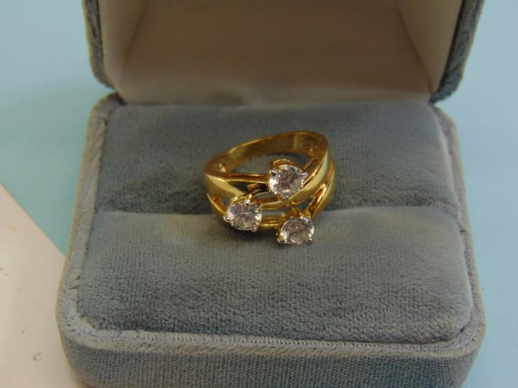 Modern Sterling Silver CZ Vermeil Ring Size 7