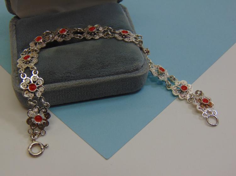 9.3g Sterling Silver Faux Coral Ladies Bracelet