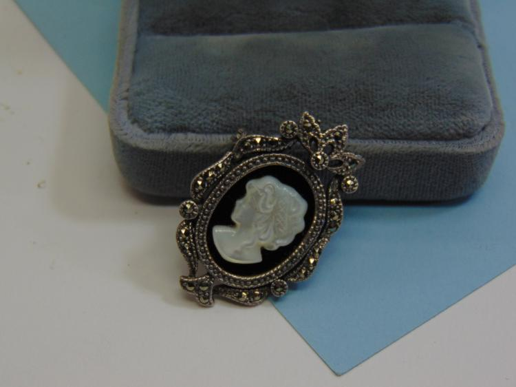 Vintage 7.6g Sterling MOP Cameo Marcasite Brooch