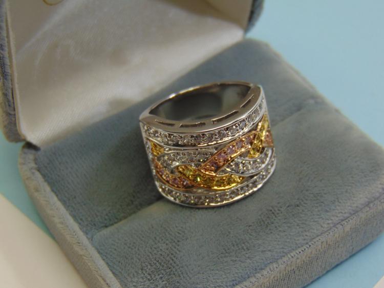 Modern 12g Sterling Silver CZ Ring Size 10