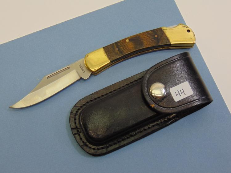 Folding Lock Blade Knife W/ Leather Case