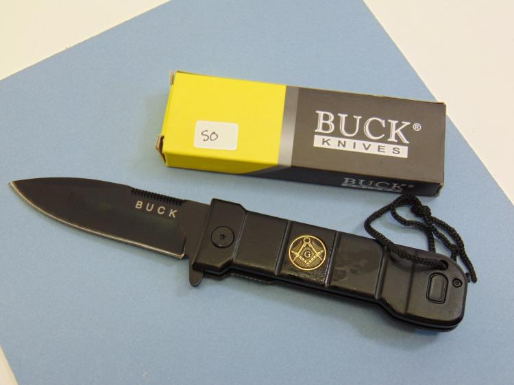 Buck Brand Black Masonic Lock Blade Knife