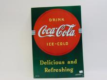 Lot 1: Drink Ice Cold Coca Cola Tin Sign