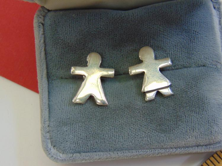 Vintage Sterling Taxco Little Girl Post Earrings