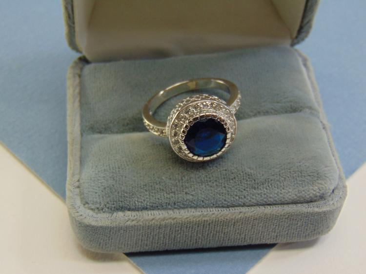 Modern 6g Sterling Silver Faux Sapphire Ring Size 10