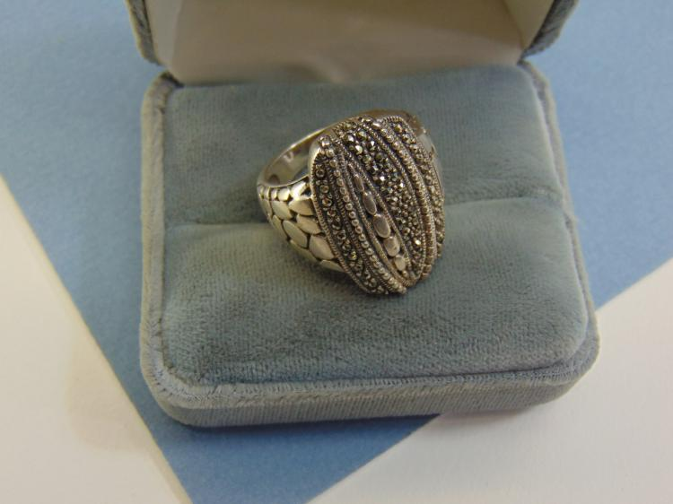 Vintage 8g Sterling Marcasite Thailand Ring Size 9.5