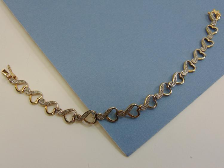 Modern 10g Sterling Silver Heart Bracelet