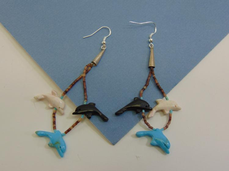 Carved Stone Dolphin Fetish Heishi Bead Earrings