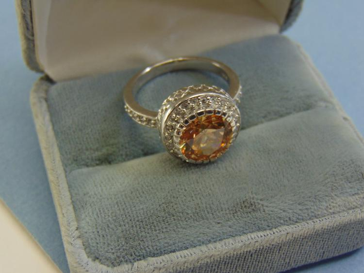 Modern 7.2g Sterling Silver Peach Cz Ring Size 9.5