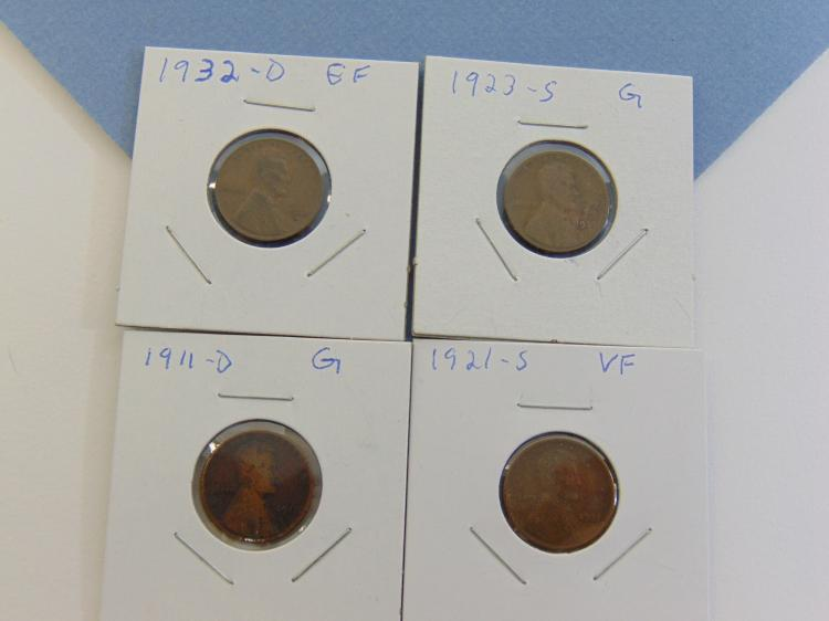Early 1900's Wheat Cent US Carded Coin Lot Of 4