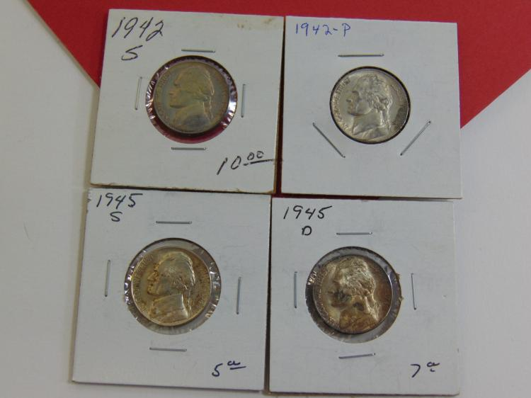 1940's Jefferson Nickel Carded US Coin Lot Of 4