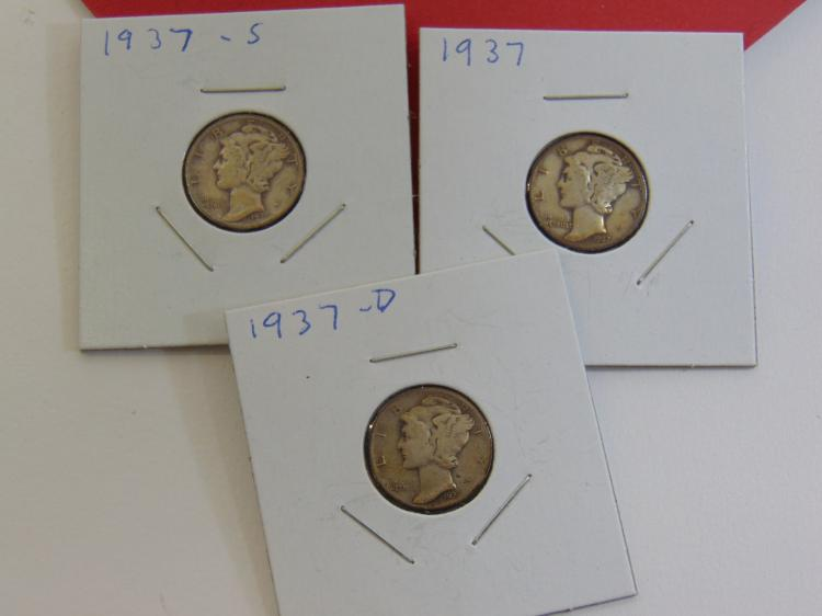 1937 PS&D Mercury Dime Carded US Coin Lot Of 3
