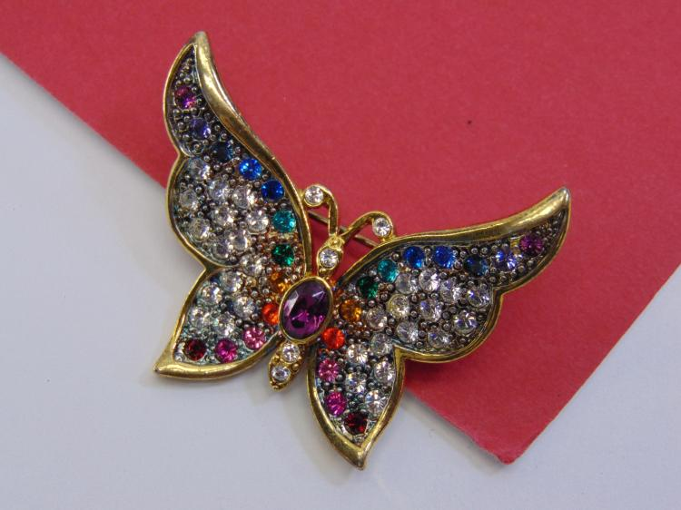 1999 PS Co Costume Rhinestone Butterfly Brooch