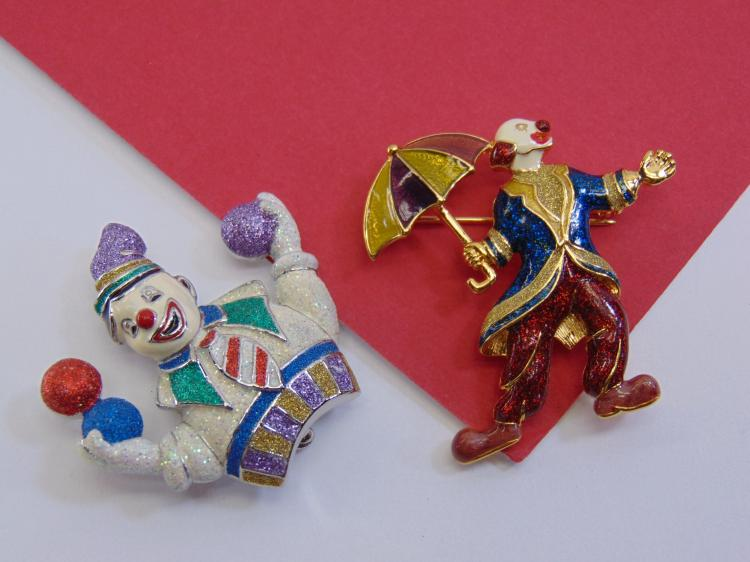 1999 PS Co Costume Jewelry Clown Brooch Lot Of 2