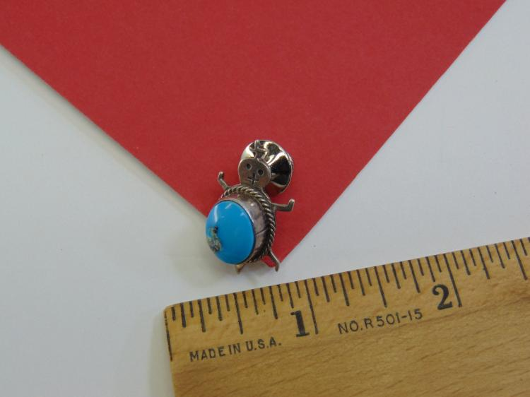 5g Sterling Turquoise Navajo Turtle Tie Pin