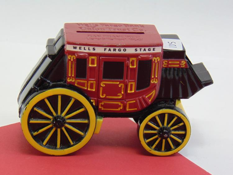 Wells Fargo Die Cast Metal Stage Coach Bank