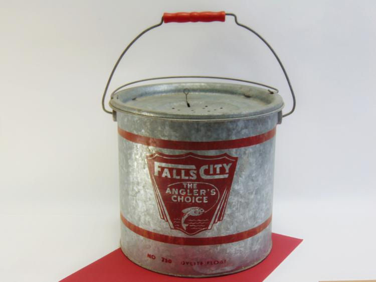 Vintage Falls City Tin Bait Bucket