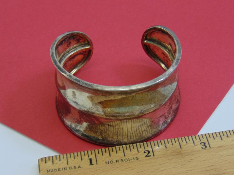 Vintage 36.5g Sterling Silver Mexico Cuff Bracelet