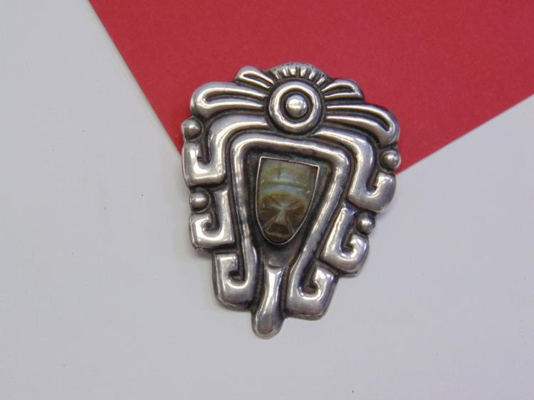 28g Sterling Carved Agate Aztec Face Brooch