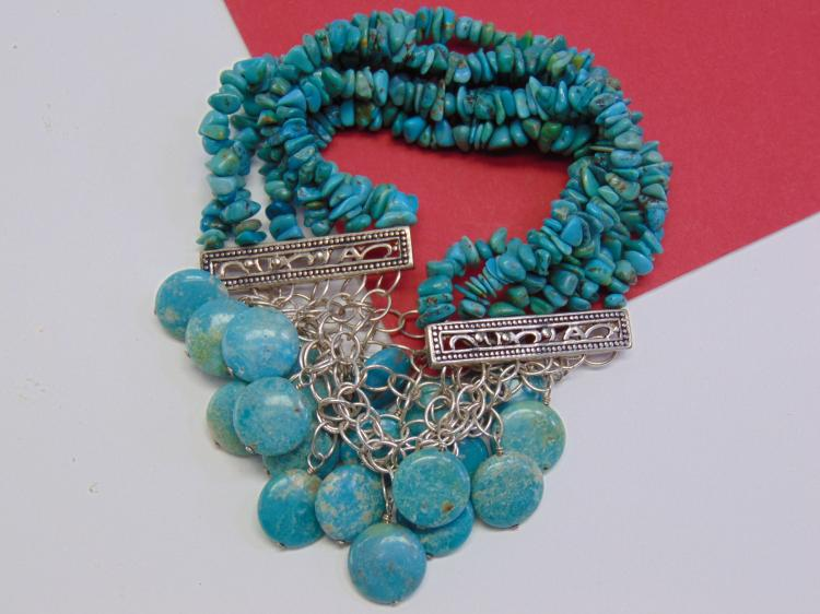 Sterling Turquoise Pebble Bead Barse Bracelet