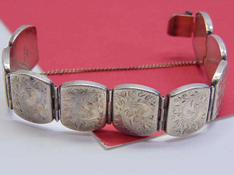 Vintage 38g Sterling Japan Etched Panel Bracelet