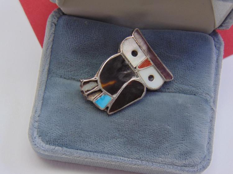 Vintage 5.3g Sterling Zuni Inlaid Owl Brooch