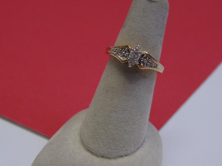 Modern Sterling Diamond Vermeil Ring Size 7