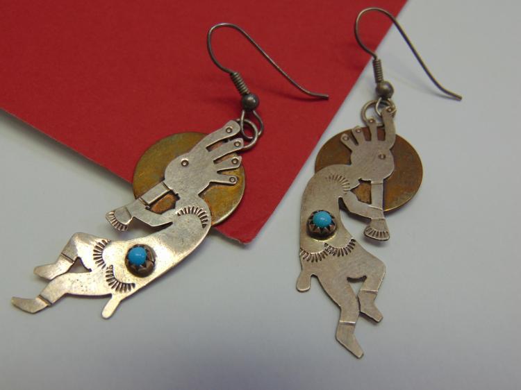 Sterling Brass Turquoise Kokopelli Earrings