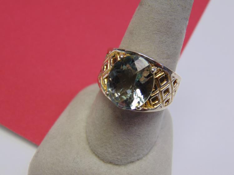 Modern 9g Sterling Silver CZ Ladies Ring Size 9.5
