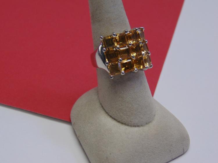 Modern 13g Sterling Amber CZ Ring Size 8